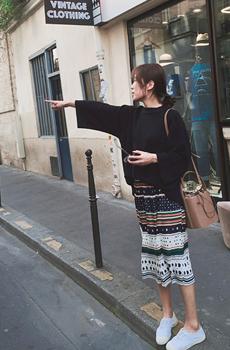 Parisien.ドット&ボーダー柄プリーツスカート[size:XS~M / 1color]