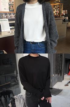 ハーフハイネックベーシックTシャツ[size:XS~M / 4color]